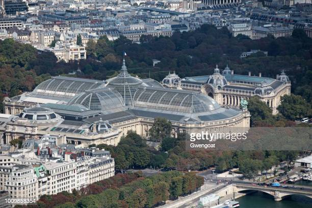 Aerial view of the Grand Palais and Petit Palais in Paris