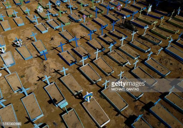 Aerial view of the graves of COVID-19 victims at the Nossa Senhora Aparecida cemetery in Manaus, Amazon state, Brazil, on April 15, 2021. - Covid-19...