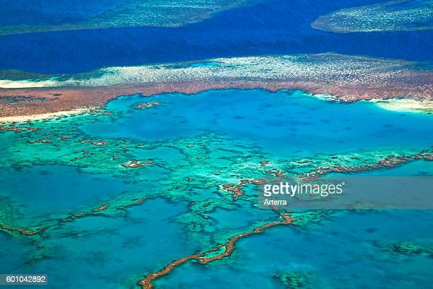 Aerial view of the Great Barrier Reef of the Whitsundays in the Coral sea Queensland Australia