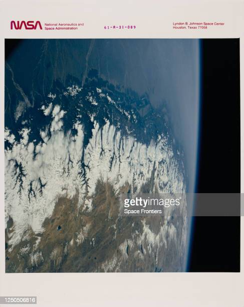 Aerial view of the Great Himalayas, showing India, Nepal and China, as seen from the Space Shuttle Challenger during Shuttle mission STS-61-A, 31st...