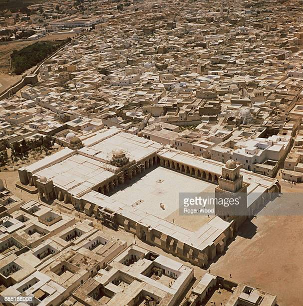 Aerial View of the Great Mosque and Town of Kairouan, Tunisia