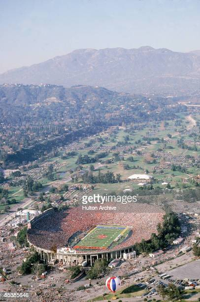 Aerial view of the halftime show at the 1984 Rose Bowl Game between UCLA and Illinois Pasadena California January 2 1984 UCLA won the game 45 9