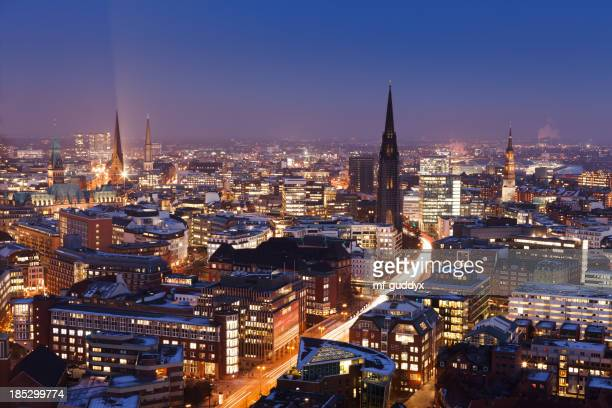 Aerial view of the Hamburg skyline at sunset