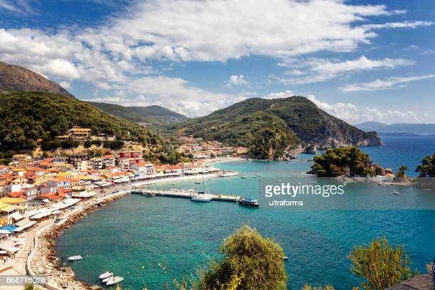 aerial view of the harbor and city of parga, epirus, greece - epirus greece stock pictures, royalty-free photos & images