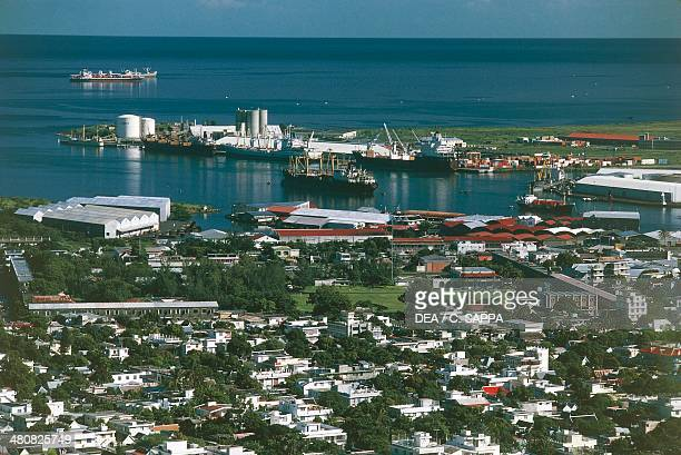 Aerial view of the harbor area of Port Louis Mauritius