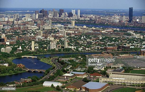 Aerial view of the Harvard Business School complex located along the Charles River in Boston is one of the graduate schools of Harvard University and...