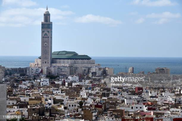 Aerial view of the Hassan II mosque in Casablanca on June 21 2019 in Casablanca Morocco