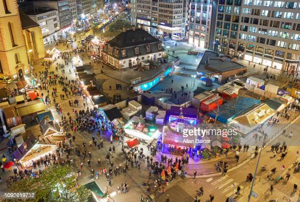 Aerial view of the Hauptwache christmas market in Frankfurt at night