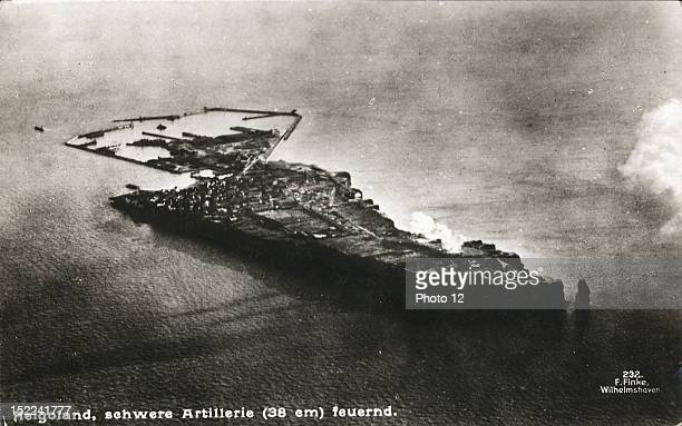 Aerial view of the Helgoland German naval base in the North Sea World War I