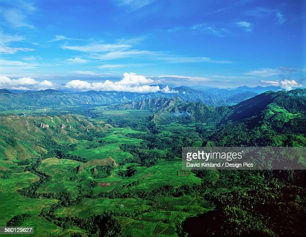 aerial view of the highlands - papua new guinea stock pictures, royalty-free photos & images