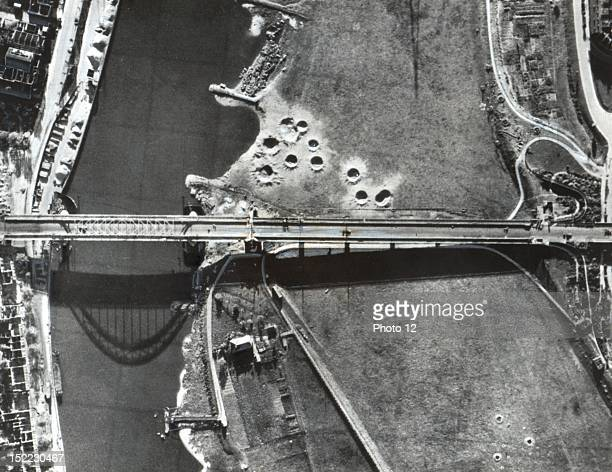 Aerial view of the highway bridge in Arnhem where several thousand British airborne troops held out for nine days during the 'MarketGarden' operation...