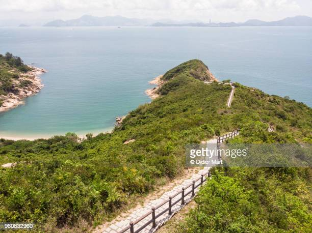 Aerial view of the hiking trail on the Cheung Chau island in Hong Kong