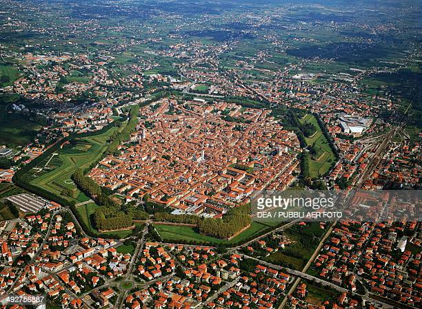 Aerial view of the historic centre of Lucca surrounded by walls Tuscany Italy