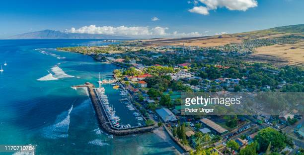 aerial view of the historic tourist town of lahaina,maui,hawaii,usa - lahaina stock pictures, royalty-free photos & images
