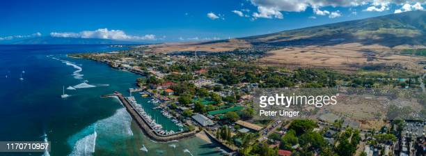 aerial view of the historic tourist town of lahaina,maui,hawaii,usa - category:census-designated_places_in_honolulu_county,_hawaii stock pictures, royalty-free photos & images