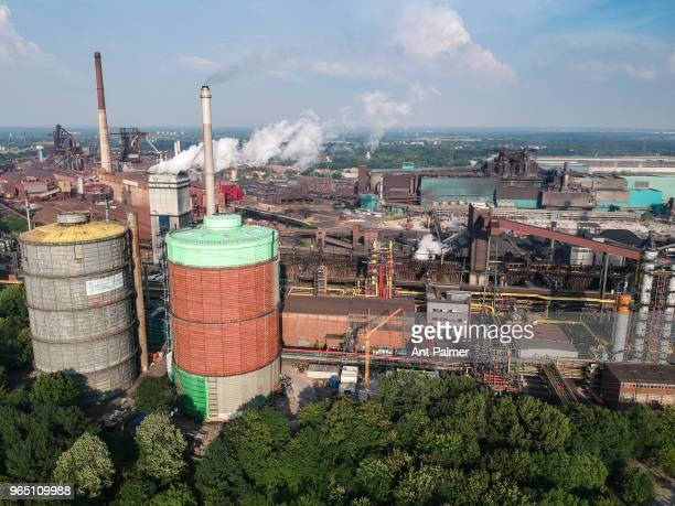 Aerial view of the HKM steel plant at sunset on May 31 2018 in Duisburg Germany The European Union and the United States are so far on a collision...