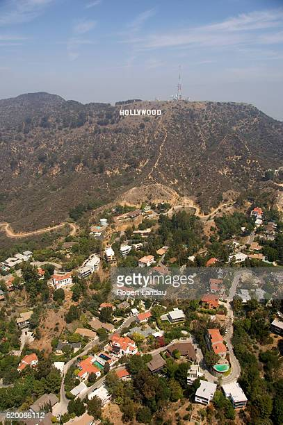 Aerial View of the Hollywood Sign and Homes in the Hollywood Hills