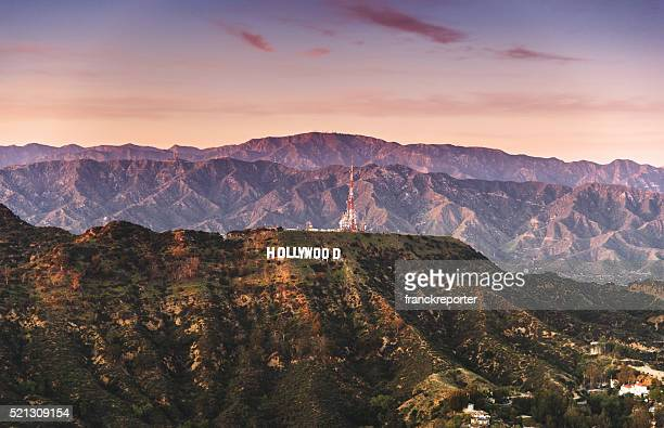 aerial view of the hollywood sign at dusk - hollywood california stock pictures, royalty-free photos & images