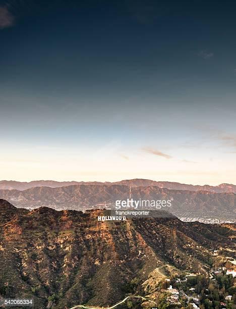 luftbild von das hollywood-schild in der dämmerung - hollywood california stock-fotos und bilder