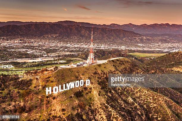 Aerial view of the Hollywood sign at dusk