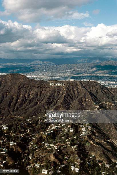 Aerial view of the Hollywood Sign landmark and American cultural icon located in Los Angeles California It is situated on Mount Lee in the Hollywood...