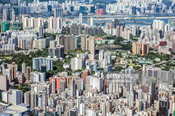 aerial view of the hong kong cityscape - kowloon stock pictures, royalty-free photos & images