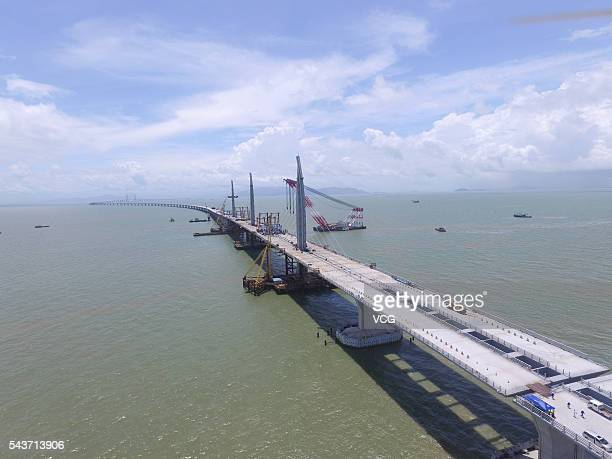 Aerial view of the Hong KongZhuhaiMacao Bridge on June 29 2016 in Zhuhai Guangdong Province of China The Hong KongZhuhaiMacao Bridge will be the...