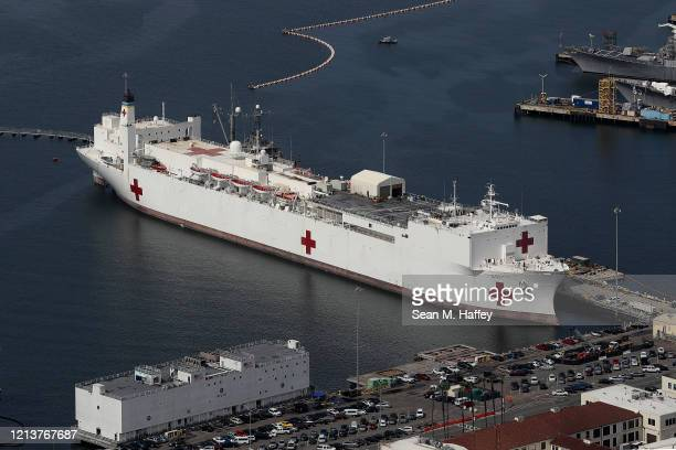 Aerial view of the Hospital ship USNS Mercy docked at Naval Base San Diego on March 20 2020 in San Diego California California Governor Gavin Newsom...