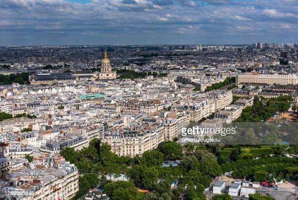 aerial view of the hotel des invalides from tour montparnasse - les invalides quarter stock pictures, royalty-free photos & images