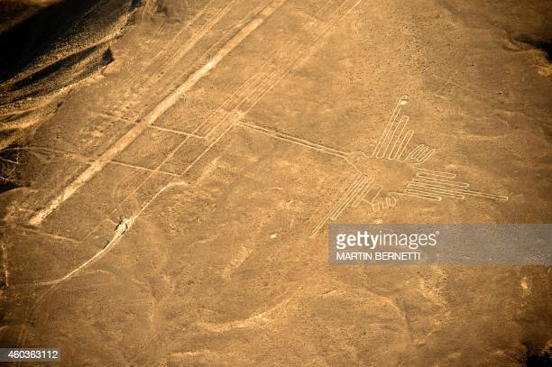 Aerial view of the Hummingbird one of the most wellpreserved figures at Nazca Lines some 435 km south of Lima Peru on December 11 2014 Geoglyphs can...
