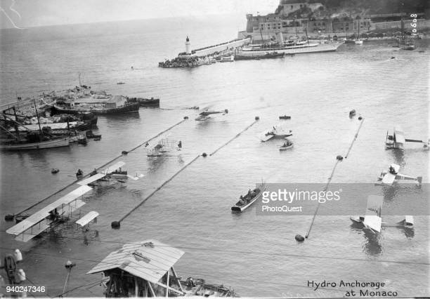 Aerial view of the 'hydro anchorage' for seaplanes participating in the inaugural Schneider Trophy Races Monaco April 1913