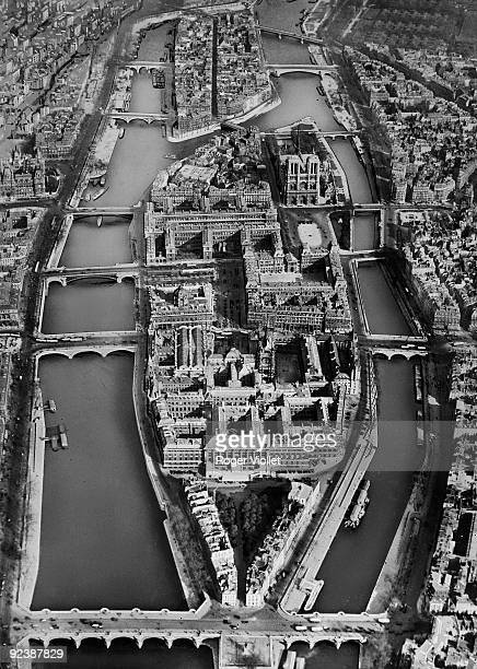 Aerial view of the Ile de la Cité Paris