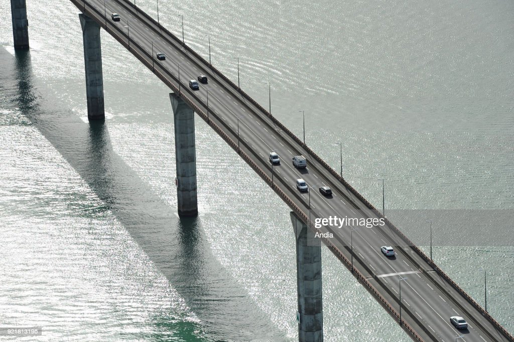 Aerial view of the Ile de Re Bridge (Isle of Rhe), off the west coast of France. Cars on the bridge.