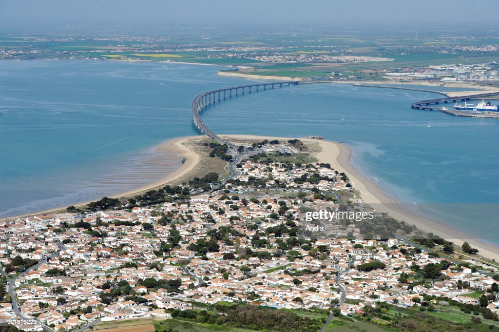 Aerial view of the Ile de Re Bridge (Isle of Rhe), off the west coast of France.