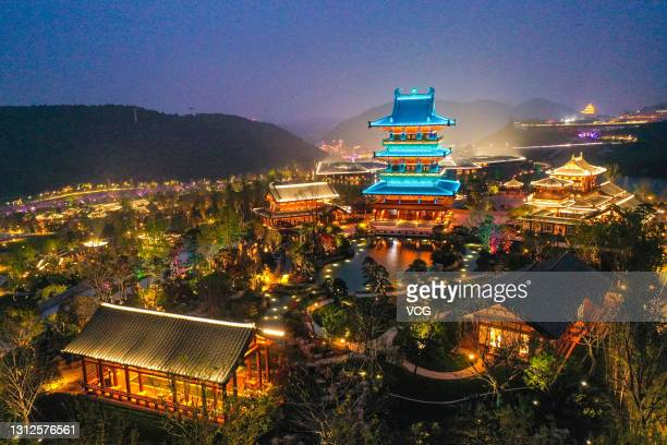 Aerial view of the illuminated Jiangsu Garden Expo Park ahead of the 11th Horticultural Exposition of Jiangsu Province on April 13, 2021 in Nanjing,...