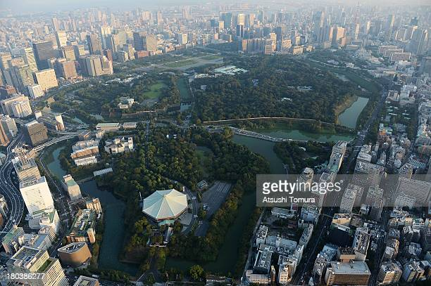 Aerial view of the Imperial Palace and outer garden which will host the cycling events during the Tokyo 2020 Olympic Games on September 12 2013 in...