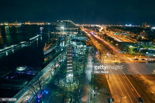 Aerial view of the Independence Seaport museum at River Delaware at night