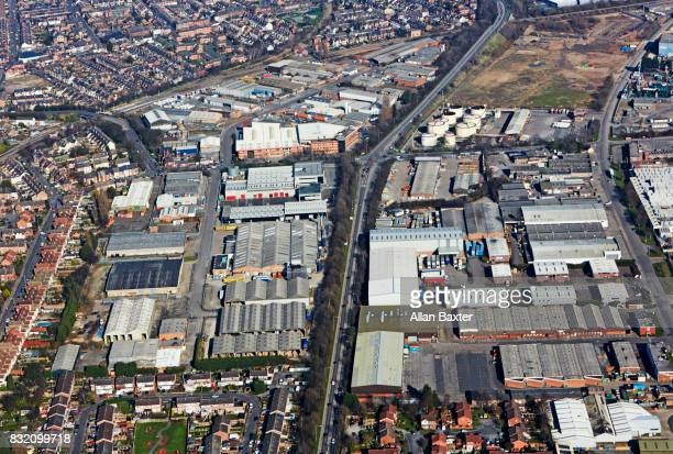 Aerial view of the industrial area of Nottingham