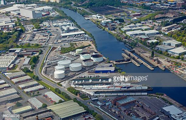 Aerial view of the Industrial district of Salford