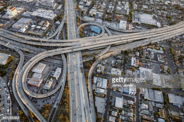Aerial view of the intersection of US Higway 110 and US Highway 10 in downtown Los Angeles.