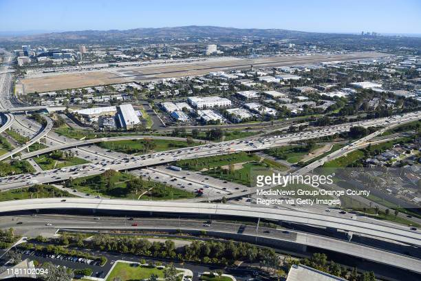Aerial view of the intersections of The 405 Freeway and The 55 Freeway near John Wayne Airport photographed during a media flight for the Great...