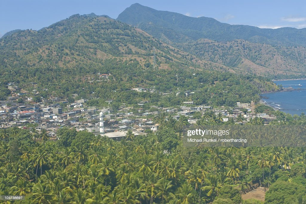 Aerial view of the island of Anjouan (Ndzuani) (Nzwani), Comoros, Indian Ocean, Africa : Stock Photo