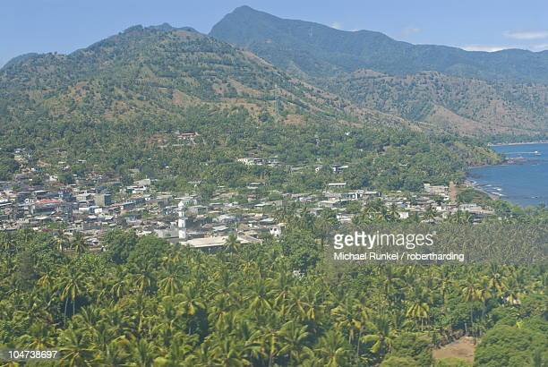 Aerial view of the island of Anjouan (Ndzuani) (Nzwani), Comoros, Indian Ocean, Africa