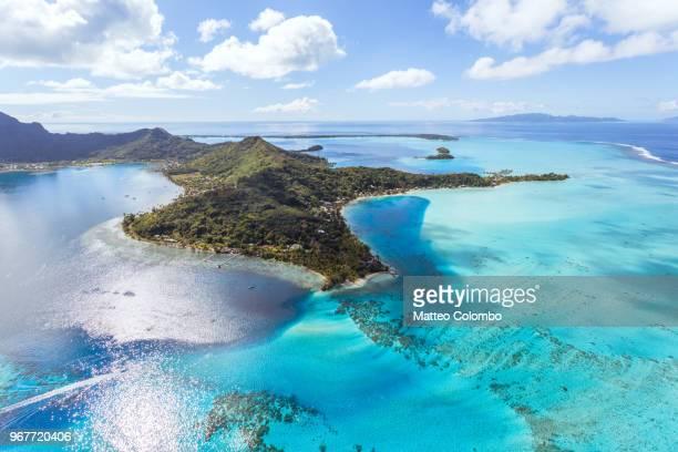 aerial view of the island of bora bora, french polynesia - ボラボラ島 ストックフォトと画像