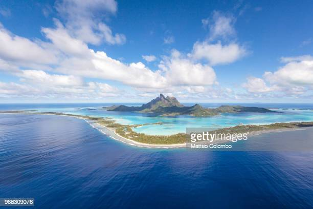 Aerial view of the island of Bora Bora, French Polynesia