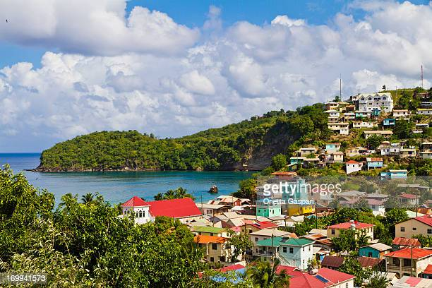 a aerial view of the island of st lucia - st. lucia stock pictures, royalty-free photos & images