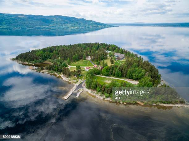 Aerial view of the island Utoya on May 31 2017 where farright extremist Anders Behring Breivik killed 69 people back in July 2011 The Labour Party´s...