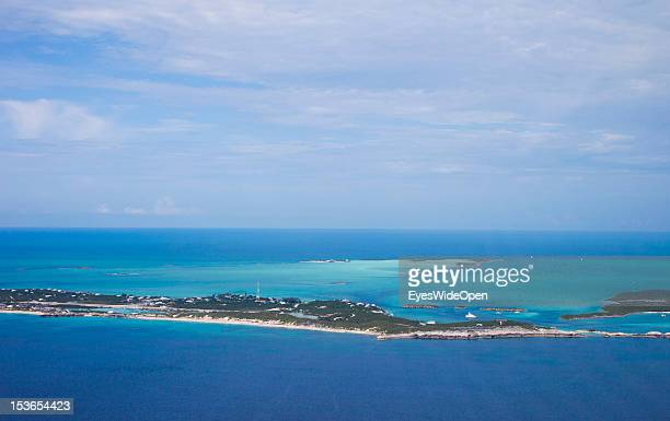 Aerial view of the islands and atolls of the Exumas in the turquoise blue carribean sea on June 15 2012 in Exumas The Bahamas