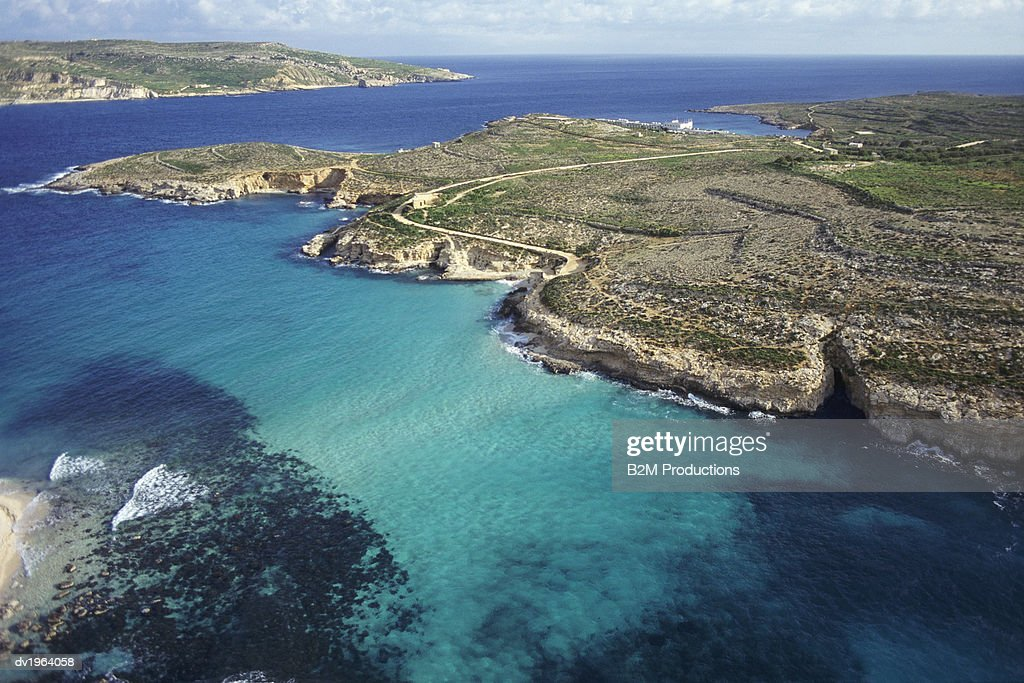Aerial View of the Islands of Gozo and Comino, Malta : Stock Photo