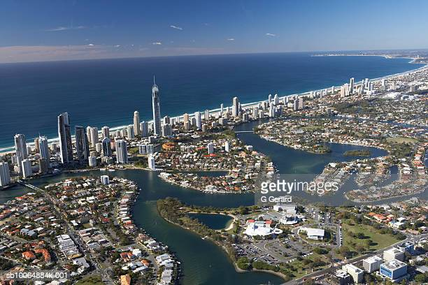 Aerial view of the Isle of Capri and Surfers Paradise Hotels and Resorts, the Gold Coast, Queensland, Australia
